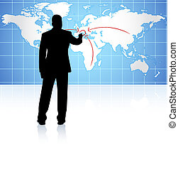 businessman with world internet background