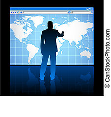 Business man on web browser internet concept with world map