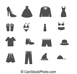 Set line icons of men and women clothing. Vector illustration.