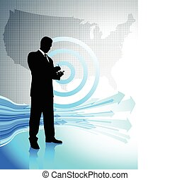 Business man with laptop on United States map