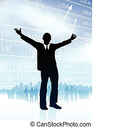 Original Vector Illustration: excited businessman with skyline and graph on internet background