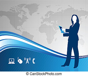 businesswoman with world map background