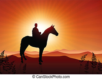 man on horse sunset background