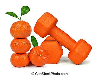 Fresh mandarines with dumbbells isolated on white background...