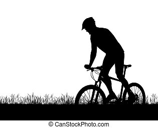 Silhouette of a cyclist on a mountain bike isolated on white...