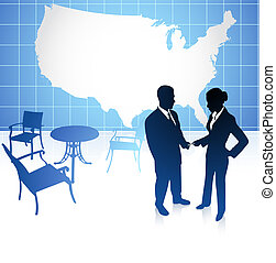 Original Vector Illustration: businessman and businesswoman meeting at cafe on united states background