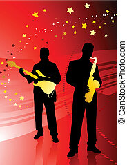 live band on abstract red background