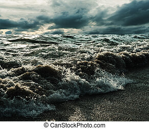 Sea and beach storm in over dark tone, Wave befor the...