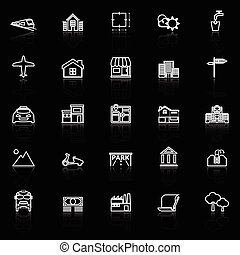 Real estate line icons with reflect on black, stock vector