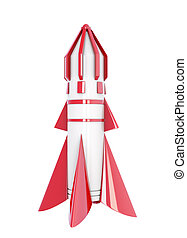 Spaceship isolated on a white background. 3d rendering.