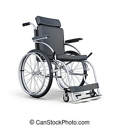 Wheelchair isolated on white background. 3d rendering.