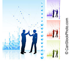 business team high five on business chart background