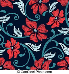 Red hibiscus tropical embroidery floral seamless pattern
