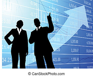 businessman and businesswoman on financial chart background