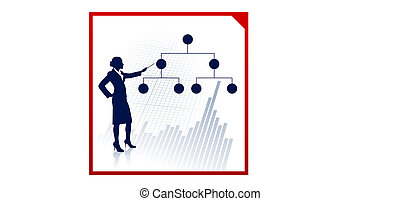 Business woman on background with financial structure diagram