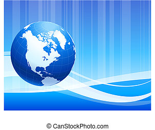 Blue Globe on abstract background