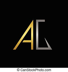 AG letters logo - Golden A and silver G letters logo...