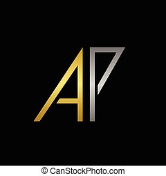 AP letters logo - Golden A and silver P letters logo...