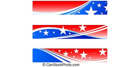 independencia, día, patriótico, banderas