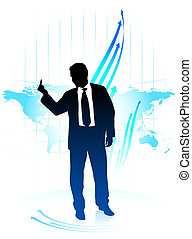 Young business man holding middle finger on world map...