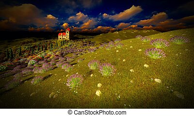 Castle towering 9ver lavender fields - Lavender fields...