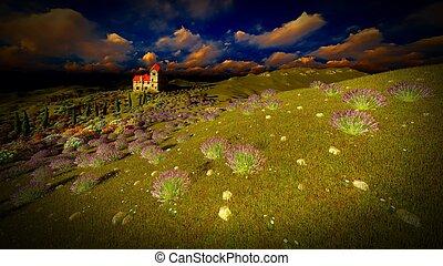 Castle towering 9ver lavender fields - Lavender fields...