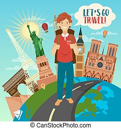 Let's Go Travel Banner with Famous World Buildings on the Globe and Happy Tourist