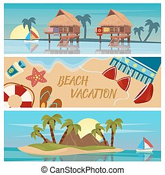 Beach Vacation Horizontal Banners Set with Bungalows and Tropical Island