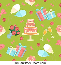 Happy Birthday Seamless Pattern with Cake, Flowers and Balloons