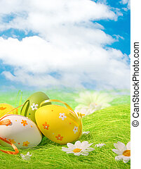 Colorful Easter Eggs - Painted Colorful Easter Eggs on green...