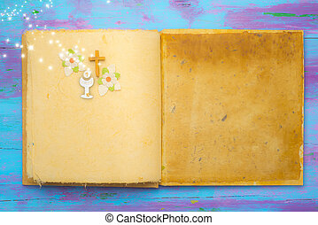 First Holy Communion background, empty book with religious...