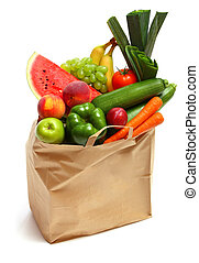 Bag full of healthy fruits and vegetables - A grocery bag...