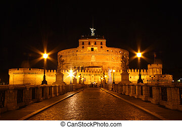 Castle Sant\'Angelo - Castle Sant Angelo in Rome by night