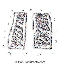 people shape pause icon - A large group of people in the...