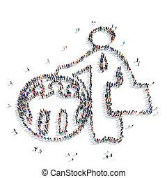 pessoas, homem, globo, caricatura,
