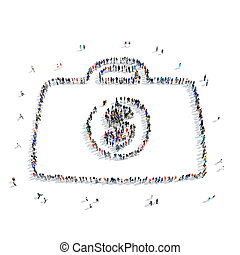 people shape portfolio dollar - A large group of people in...