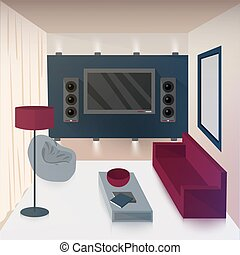 Modern Interior of Living Room with TV and Hi-Fi...