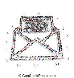 people letter mail cartoon - A large group of people in the...
