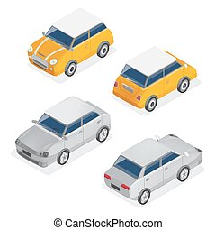 City Cars Isometric Set with Mini Car and Sedan Automobile....