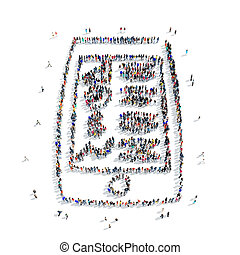 people smartphone cartoon icon - A large group of people in...