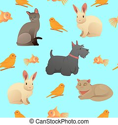 Seamless Pattern with Home Pets - Cats, Dog and Rabbit