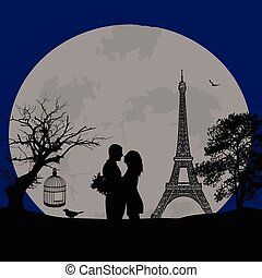 Lovers in Paris at blue night