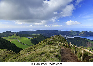 Lagoa Azul and footpath on San Miguel island of Azores
