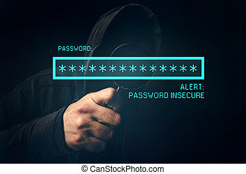 Password insecure alert, unrecognizable computer hacker...