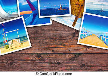 Seaside photo collage on wooden desk as copy space