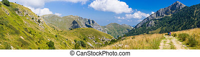 Hikers in the Ligurian Alps