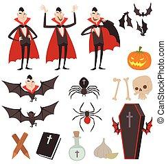 Cartoon Dracula symbols icons - Dracula vampire icons...