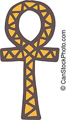 Egypt symbols vector Ankh Hieroglyph on white background -...