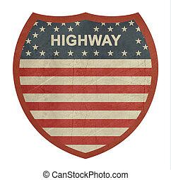 Grunge American interstate highway sign 2