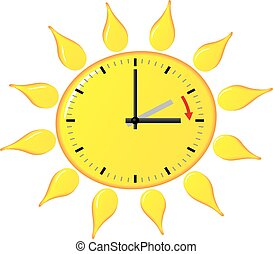 Vector Clipart of alarm clock change to daylight saving time ...